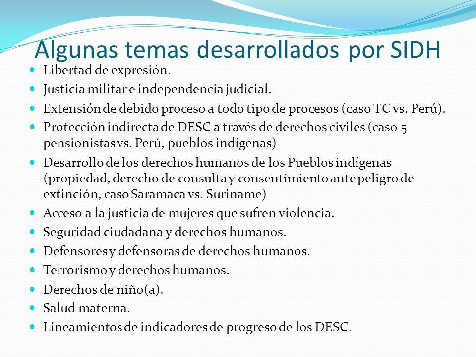 Algunas temas desarrollados por SIDH Libertad de expresión.