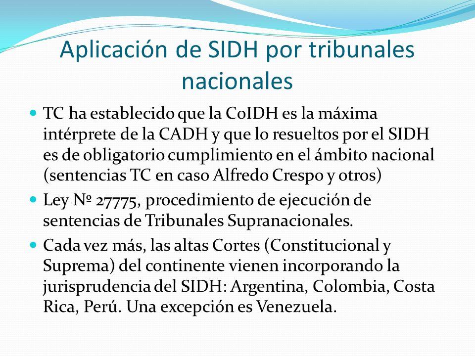 Aplicación de SIDH por tribunales nacionales TC ha establecido que la CoIDH es la máxima intérprete de la CADH y que lo resueltos por el SIDH es de obligatorio cumplimiento en el ámbito nacional (sentencias TC en caso Alfredo Crespo y otros) Ley Nº 27775, procedimiento de ejecución de sentencias de Tribunales Supranacionales.