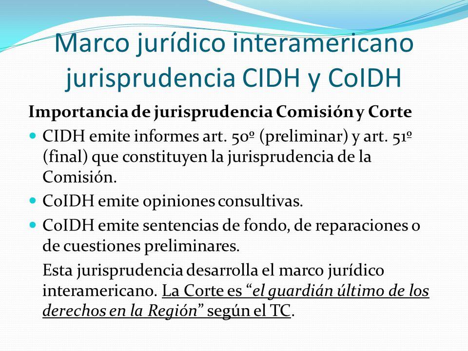 Marco jurídico interamericano jurisprudencia CIDH y CoIDH Importancia de jurisprudencia Comisión y Corte CIDH emite informes art.