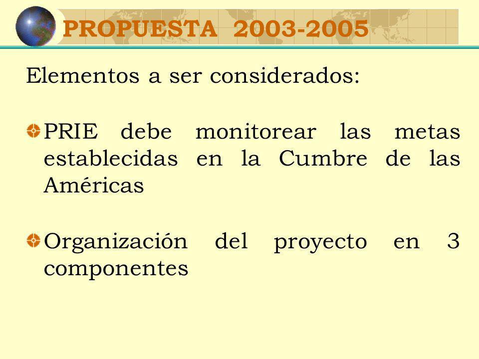 PROPUESTA 2003-2005 Elementos a ser considerados: PRIE debe monitorear las metas establecidas en la Cumbre de las Américas Organización del proyecto en 3 componentes