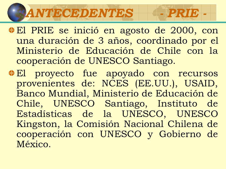 OBJETIVOS - PRIE - PRIE tiene tres objetivos: Construir un conjunto de indicadores comparables de educación para las Américas Fortalecer los sistemas nacionales de estadísticas educativas Publicar y promover el uso de los indicadores en la toma de decisiones