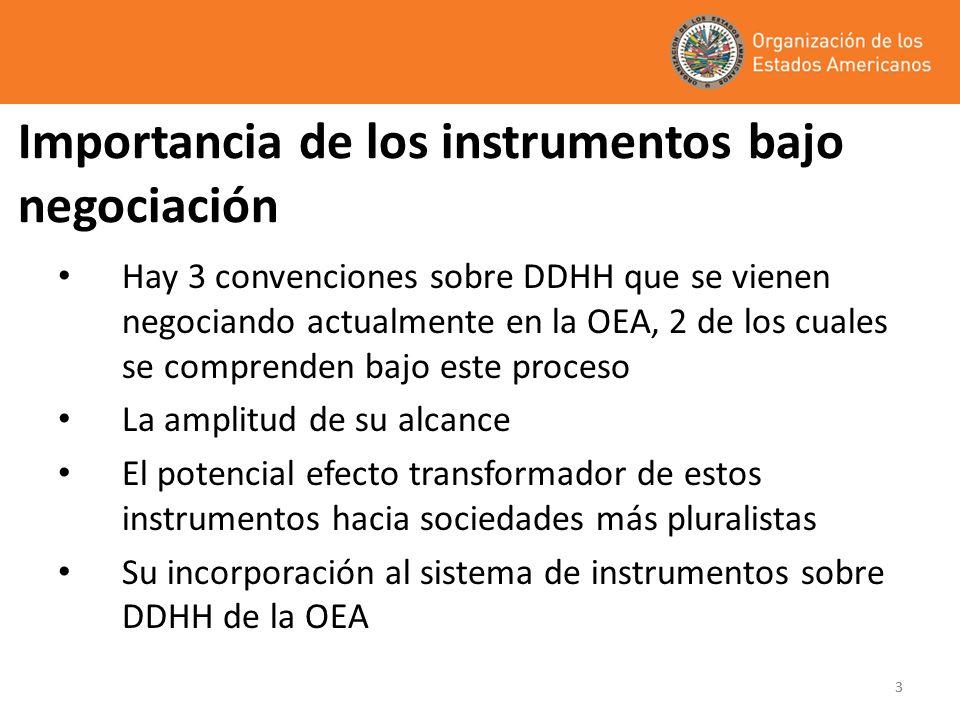 33 Importancia de los instrumentos bajo negociación Hay 3 convenciones sobre DDHH que se vienen negociando actualmente en la OEA, 2 de los cuales se c
