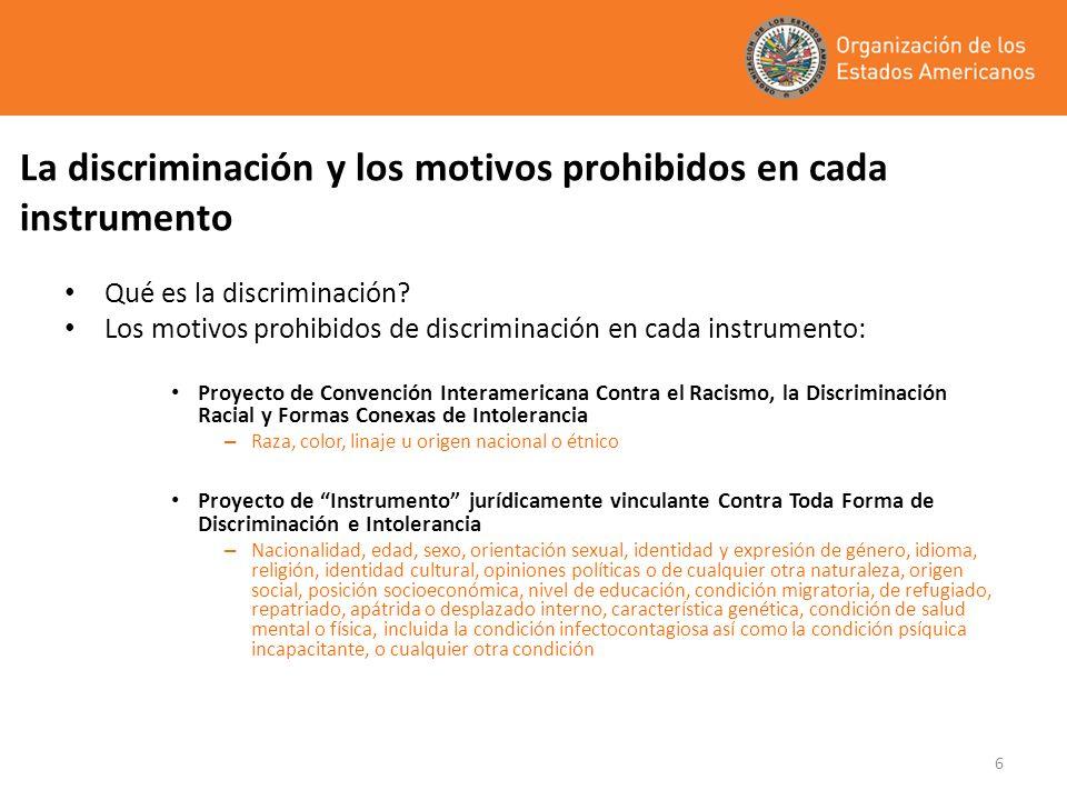 6 La discriminación y los motivos prohibidos en cada instrumento Qué es la discriminación? Los motivos prohibidos de discriminación en cada instrument