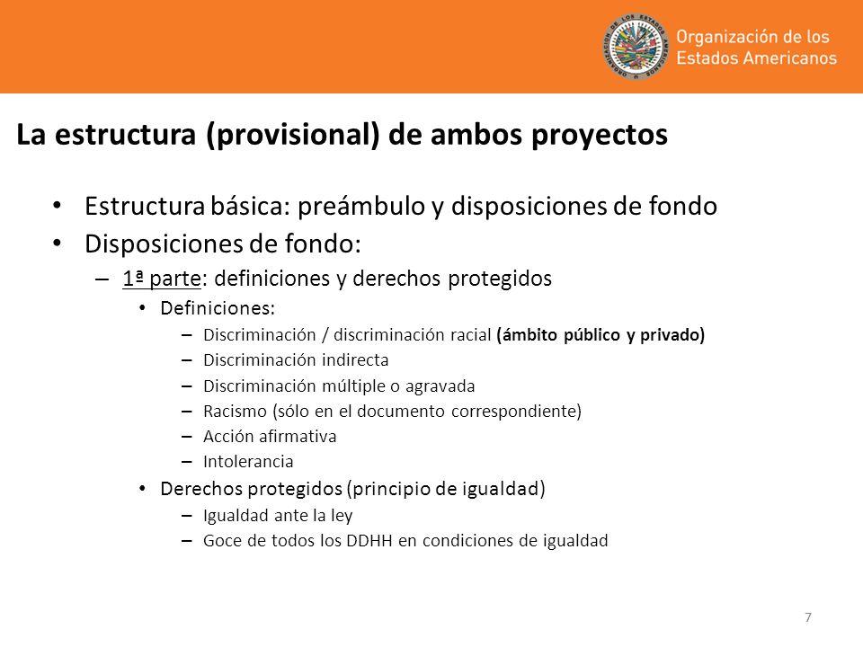 77 La estructura (provisional) de ambos proyectos Estructura básica: preámbulo y disposiciones de fondo Disposiciones de fondo: – 1ª parte: definicion