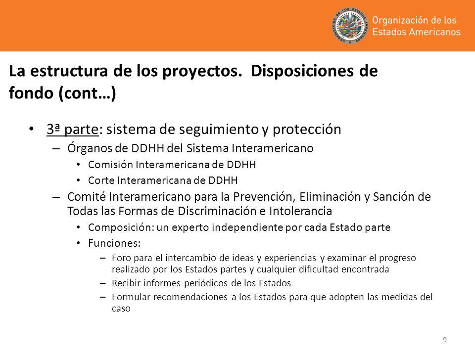 99 La estructura de los proyectos. Disposiciones de fondo (cont…) 3ª parte: sistema de seguimiento y protección – Órganos de DDHH del Sistema Interame