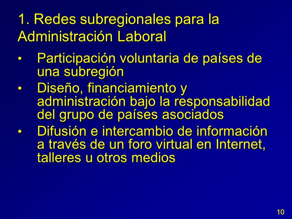1. Redes subregionales para la Administración Laboral Participación voluntaria de países de una subregión Participación voluntaria de países de una su