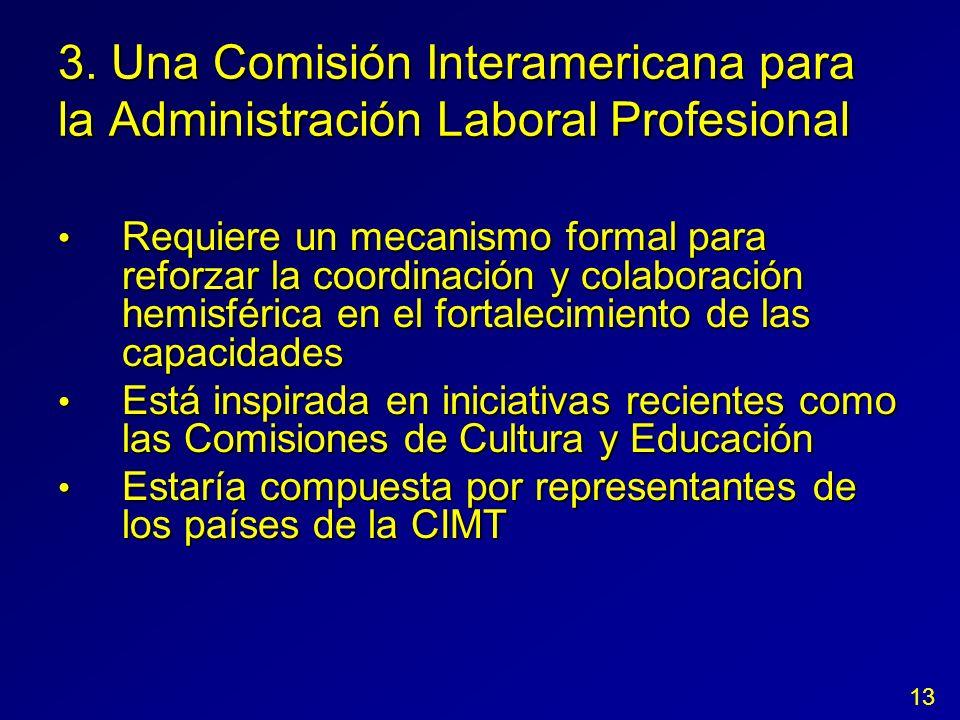 3. Una Comisión Interamericana para la Administración Laboral Profesional Requiere un mecanismo formal para reforzar la coordinación y colaboración he