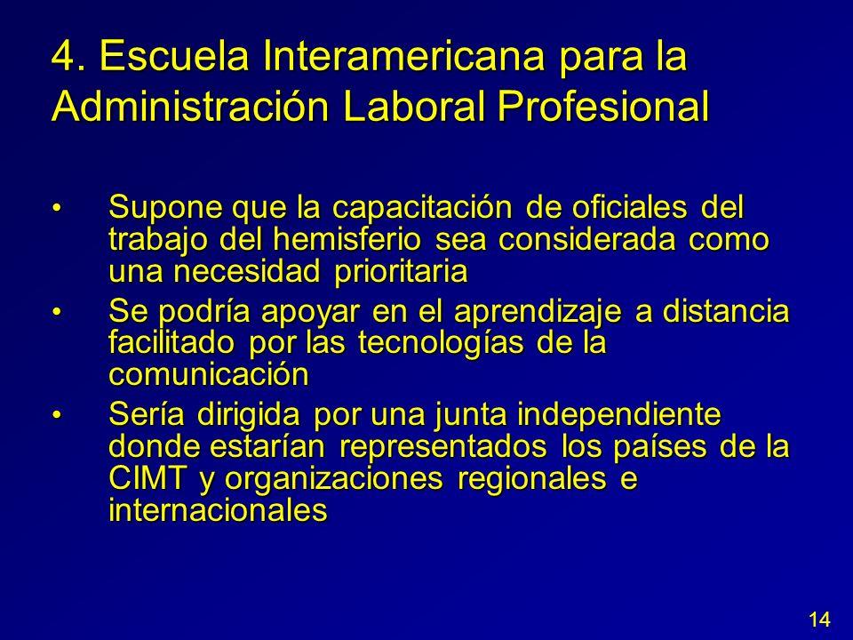 4. Escuela Interamericana para la Administración Laboral Profesional Supone que la capacitación de oficiales del trabajo del hemisferio sea considerad