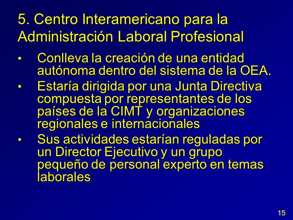 5. Centro Interamericano para la Administración Laboral Profesional Conlleva la creación de una entidad autónoma dentro del sistema de la OEA. Conllev