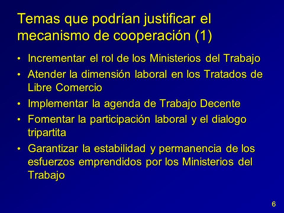 Temas que podrían justificar el mecanismo de cooperación (1) Incrementar el rol de los Ministerios del Trabajo Incrementar el rol de los Ministerios d