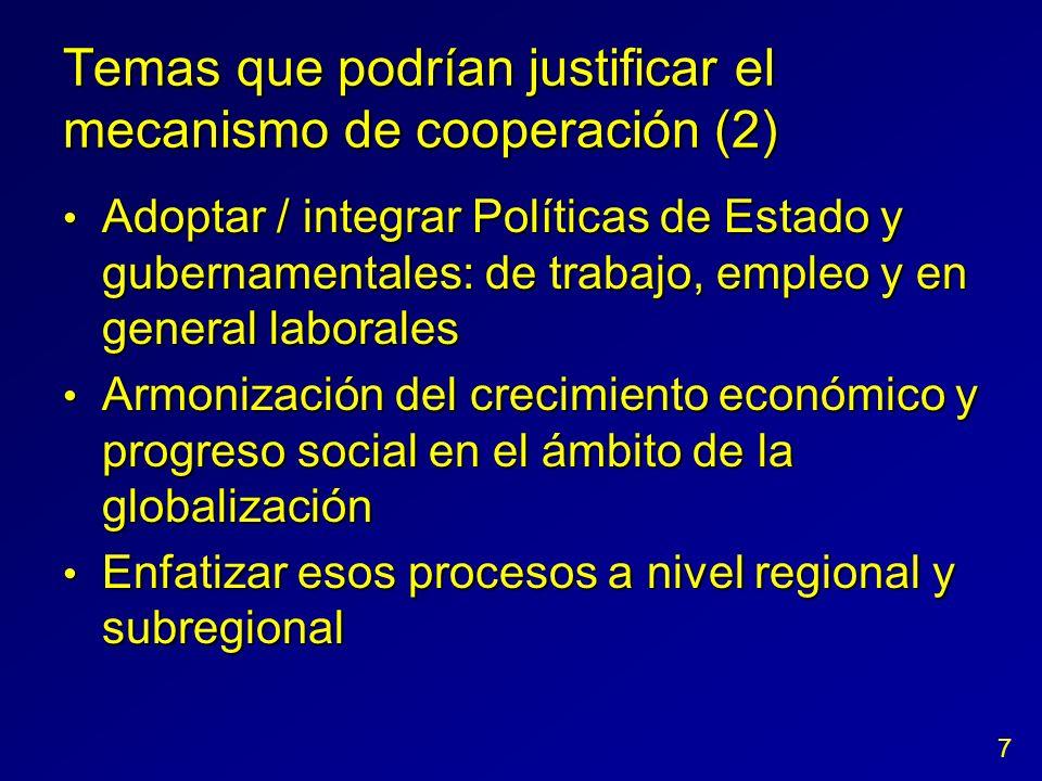 Temas que podrían justificar el mecanismo de cooperación (2) Adoptar / integrar Políticas de Estado y gubernamentales: de trabajo, empleo y en general
