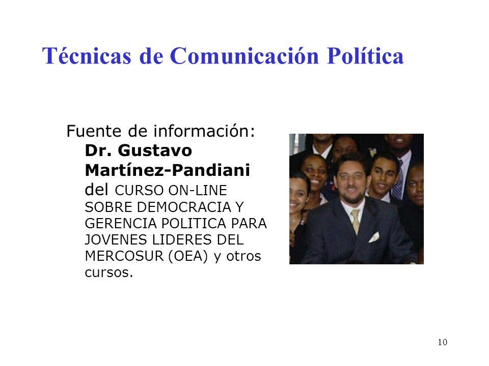 10 Técnicas de Comunicación Política Fuente de información: Dr. Gustavo Martínez-Pandiani del CURSO ON-LINE SOBRE DEMOCRACIA Y GERENCIA POLITICA PARA