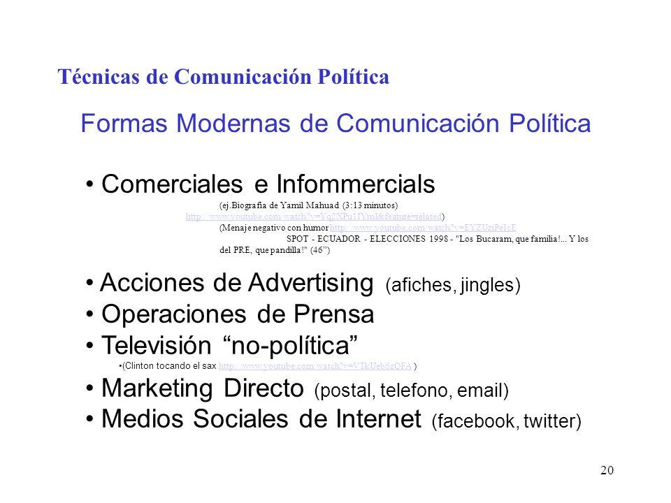 20 Técnicas de Comunicación Política Formas Modernas de Comunicación Política Comerciales e Infommercials (ej.Biografia de Yamil Mahuad (3:13 minutos)
