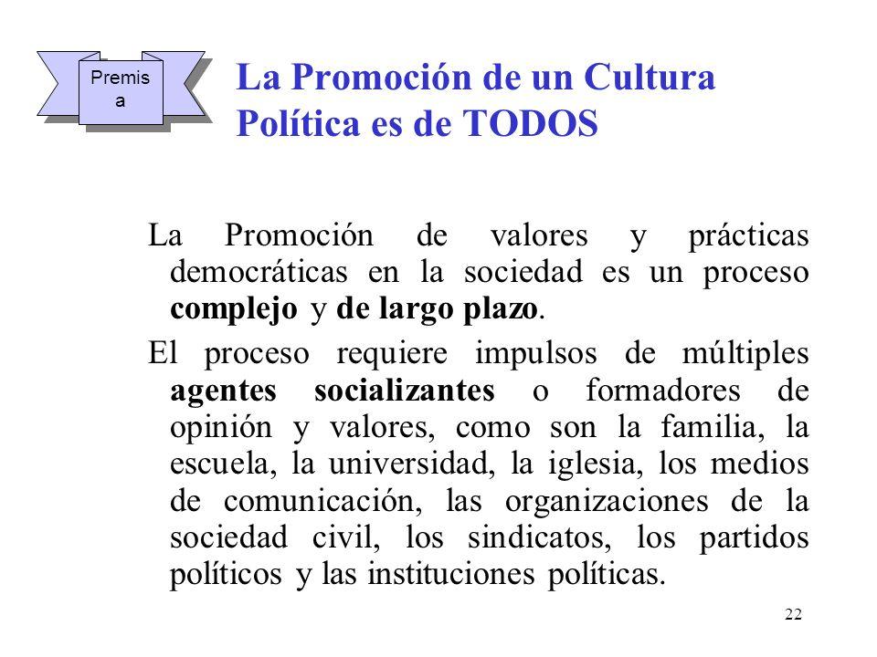 22 La Promoción de un Cultura Política es de TODOS La Promoción de valores y prácticas democráticas en la sociedad es un proceso complejo y de largo p