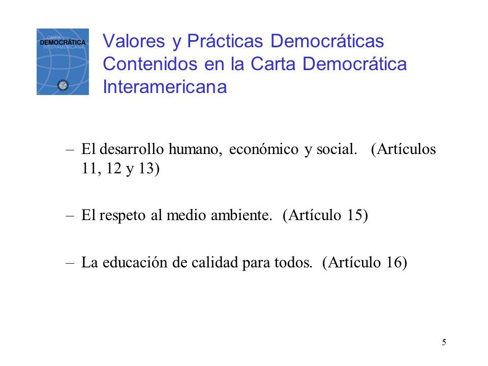 5 Valores y Prácticas Democráticas Contenidos en la Carta Democrática Interamericana –El desarrollo humano, económico y social. (Artículos 11, 12 y 13