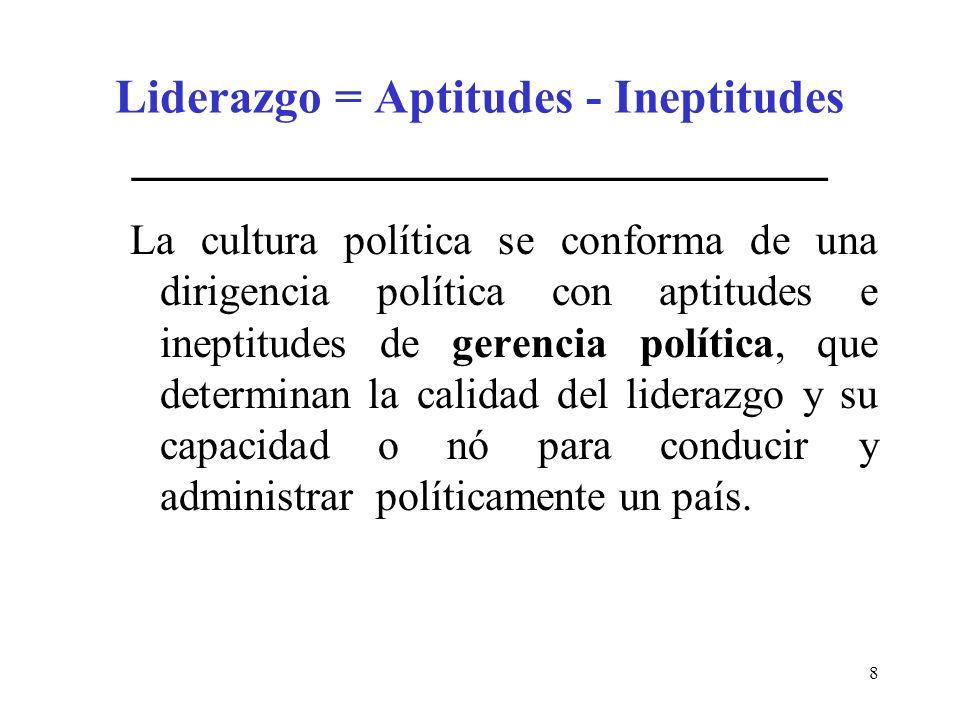 8 Liderazgo = Aptitudes - Ineptitudes _____________________________ La cultura política se conforma de una dirigencia política con aptitudes e ineptit