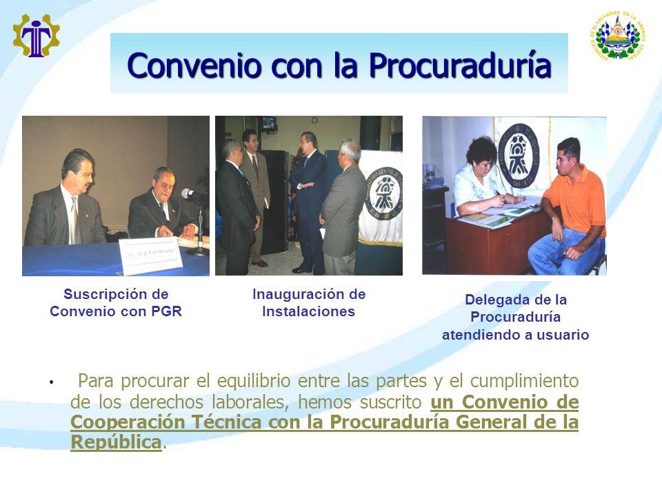 Convenio con la Procuraduría Para procurar el equilibrio entre las partes y el cumplimiento de los derechos laborales, hemos suscrito un Convenio de C