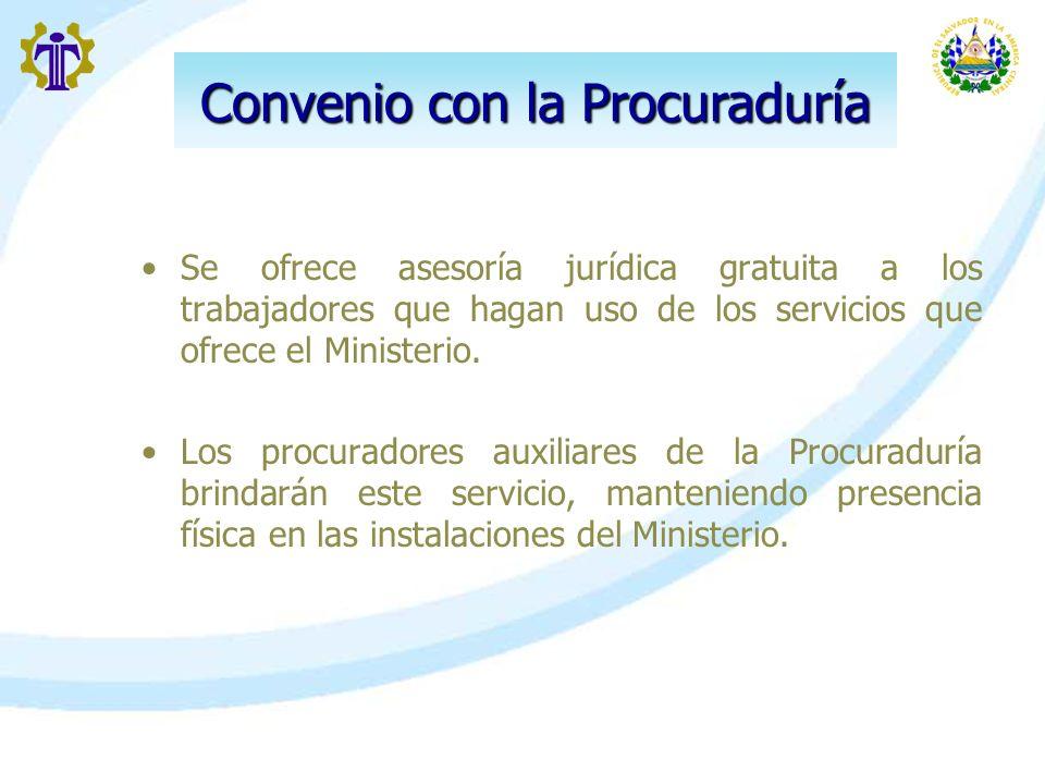 Convenio con la Procuraduría Se ofrece asesoría jurídica gratuita a los trabajadores que hagan uso de los servicios que ofrece el Ministerio. Los proc