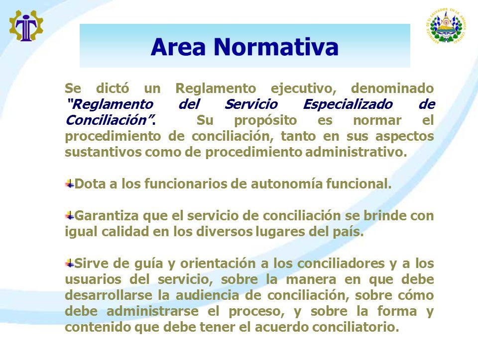 Area Normativa Se dictó un Reglamento ejecutivo, denominado Reglamento del Servicio Especializado de Conciliación. Su propósito es normar el procedimi