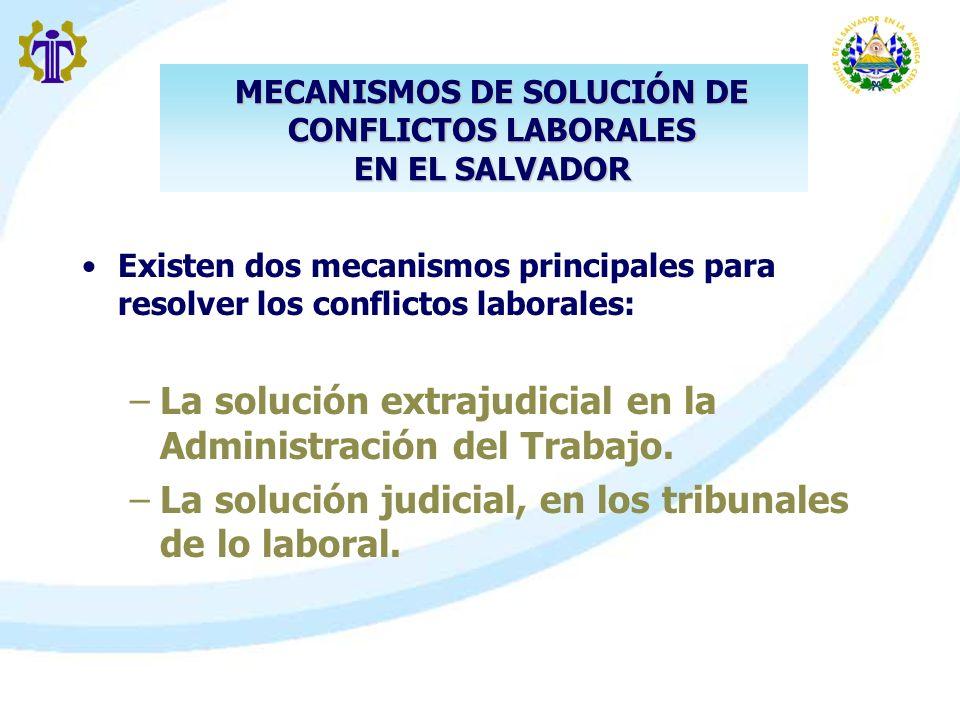 Existen dos mecanismos principales para resolver los conflictos laborales: –La solución extrajudicial en la Administración del Trabajo. –La solución j