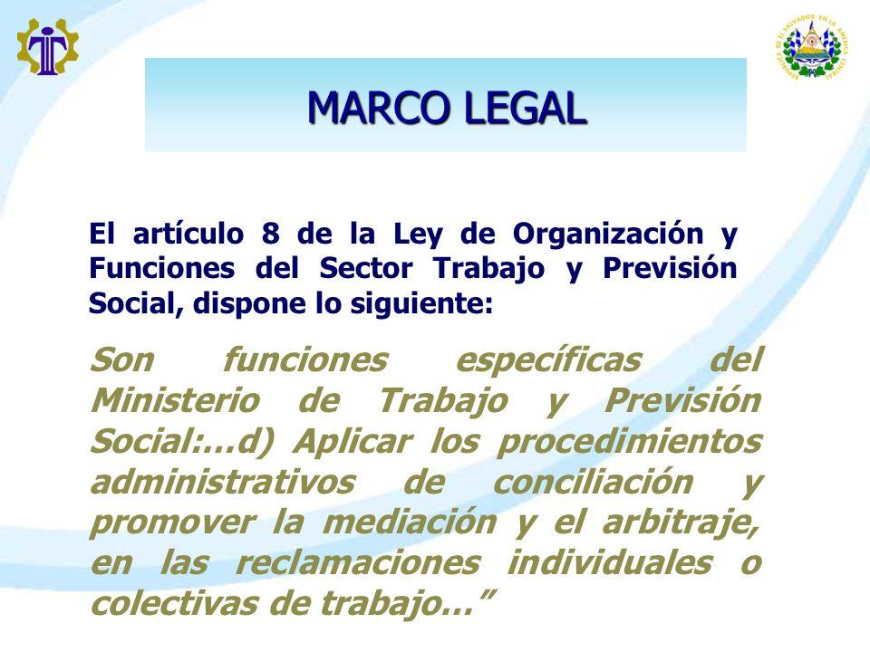 MARCO LEGAL El artículo 8 de la Ley de Organización y Funciones del Sector Trabajo y Previsión Social, dispone lo siguiente: Son funciones específicas