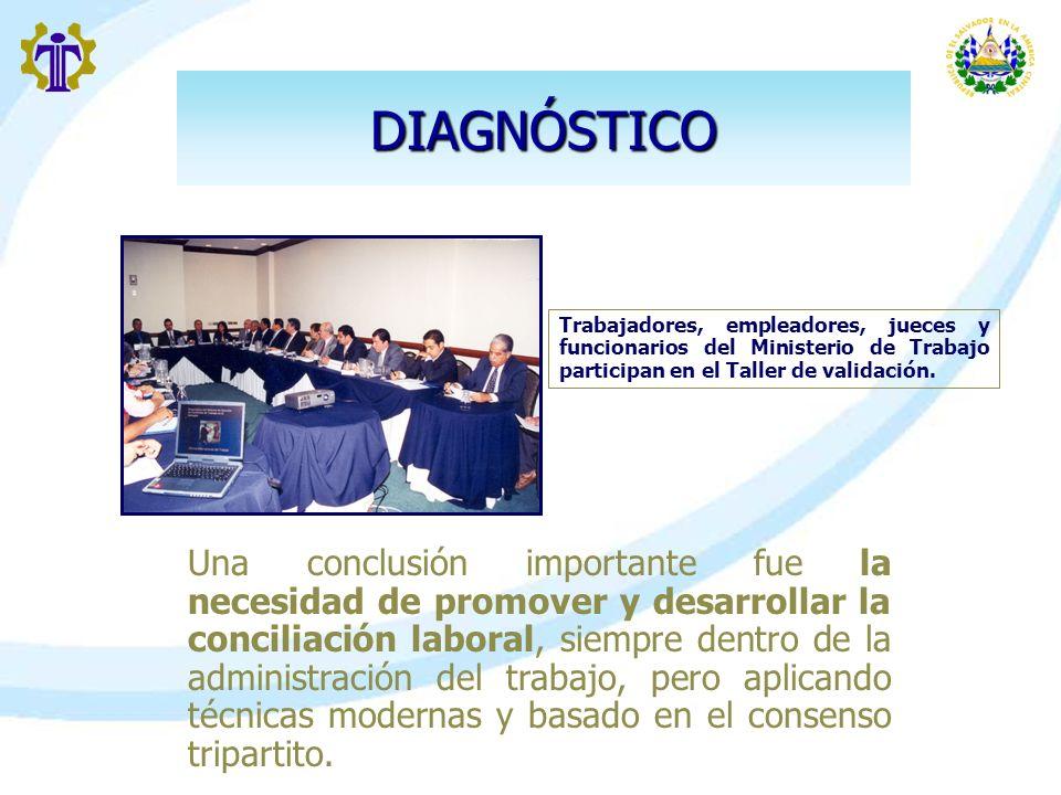 DIAGNÓSTICO Una conclusión importante fue la necesidad de promover y desarrollar la conciliación laboral, siempre dentro de la administración del trab