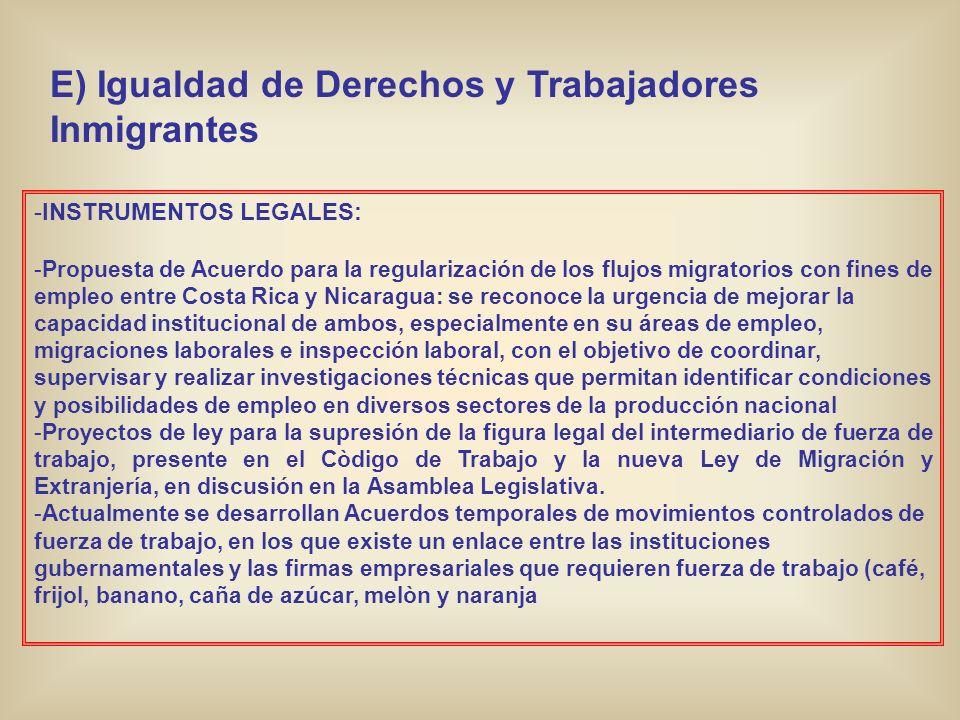 E) Igualdad de Derechos y Trabajadores Inmigrantes -INSTRUMENTOS LEGALES: -Propuesta de Acuerdo para la regularización de los flujos migratorios con f