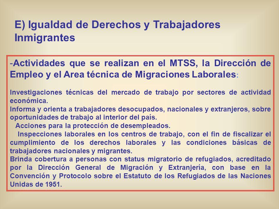 E) Igualdad de Derechos y Trabajadores Inmigrantes -Actividades que se realizan en el MTSS, la Dirección de Empleo y el Area técnica de Migraciones La