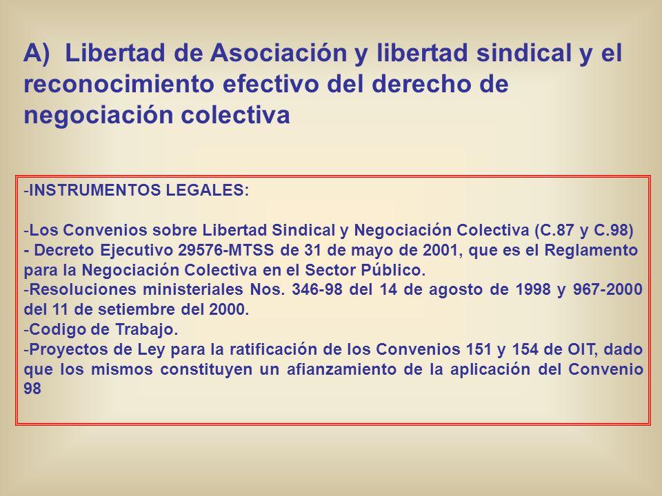 B) Erradicación del trabajo infantil -INSTRUMENTOS LEGALES: - Ratificación del Convenio 138 de OIT (1974) - Ley 7184 de agosto de 1990.