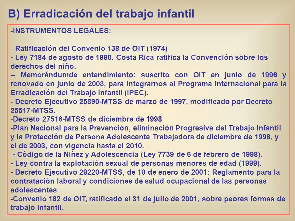 B) Erradicación del trabajo infantil -INSTRUMENTOS LEGALES: - Ratificación del Convenio 138 de OIT (1974) - Ley 7184 de agosto de 1990. Costa Rica rat