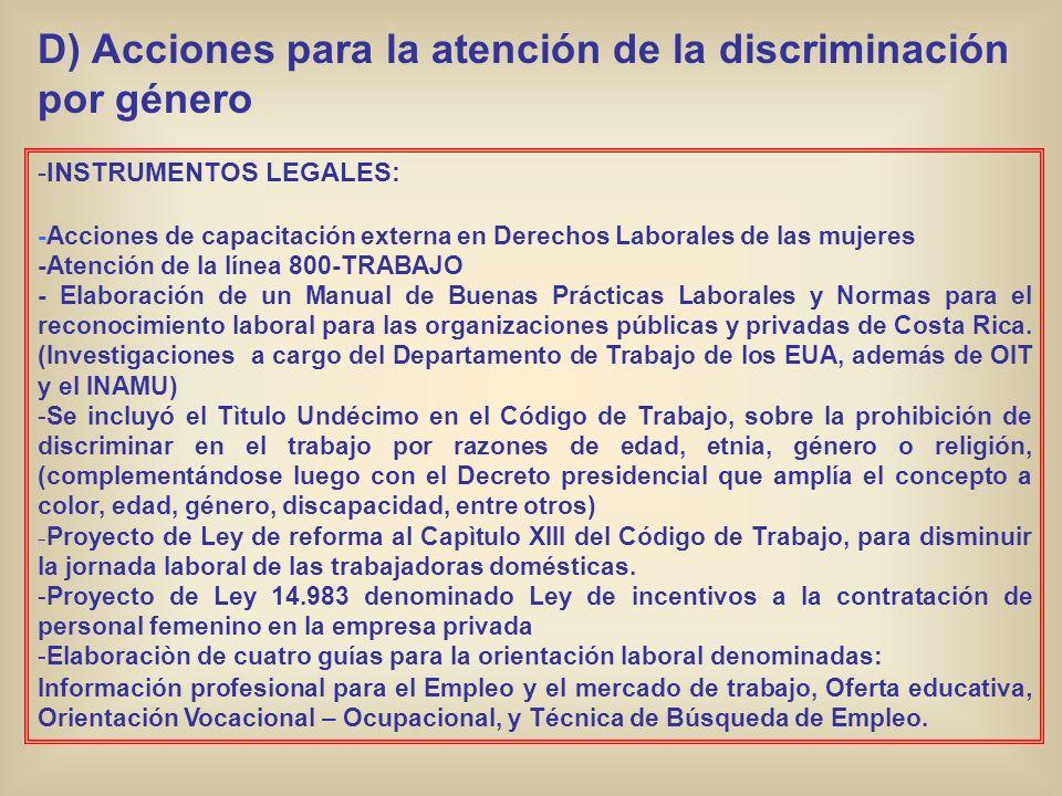 D) Acciones para la atención de la discriminación por género -INSTRUMENTOS LEGALES: -Acciones de capacitación externa en Derechos Laborales de las muj