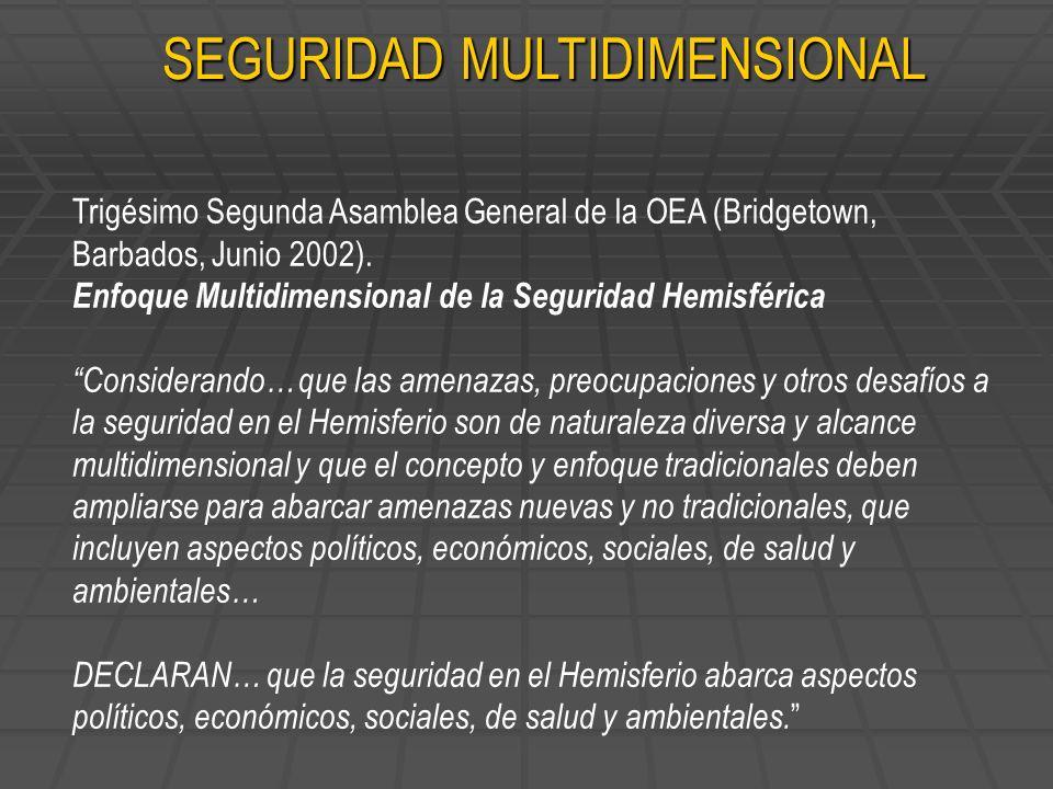 Trigésimo Segunda Asamblea General de la OEA (Bridgetown, Barbados, Junio 2002). Enfoque Multidimensional de la Seguridad Hemisférica Considerando… qu