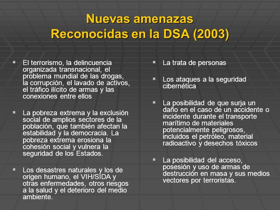 Nuevas amenazas Reconocidas en la DSA (2003) El terrorismo, la delincuencia organizada transnacional, el problema mundial de las drogas, la corrupción