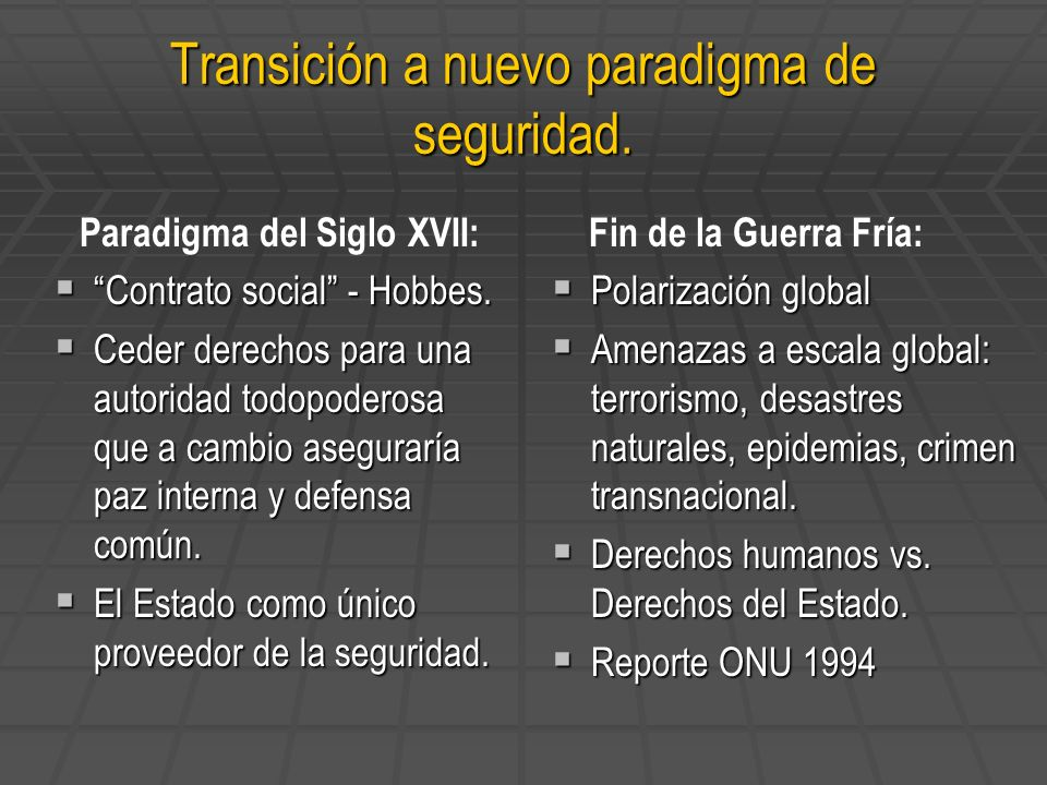 Transición a nuevo paradigma de seguridad. Paradigma del Siglo XVII: Contrato social - Hobbes. Contrato social - Hobbes. Ceder derechos para una autor