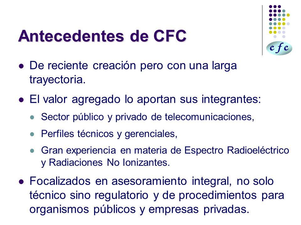 Antecedentes de CFC De reciente creación pero con una larga trayectoria. El valor agregado lo aportan sus integrantes: Sector público y privado de tel