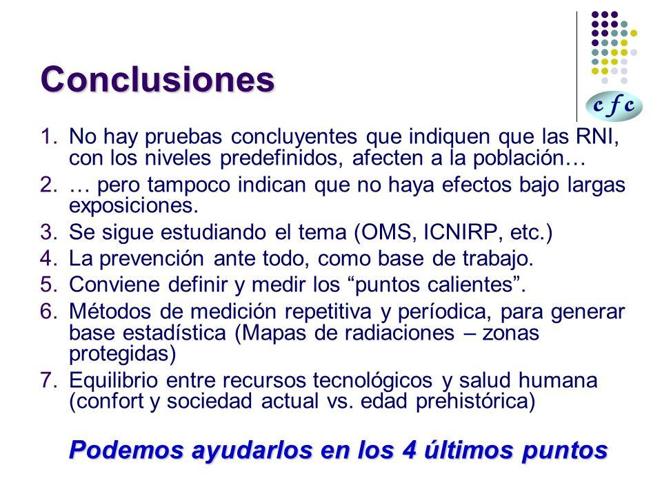 Conclusiones 1.No hay pruebas concluyentes que indiquen que las RNI, con los niveles predefinidos, afecten a la población… 2.… pero tampoco indican qu