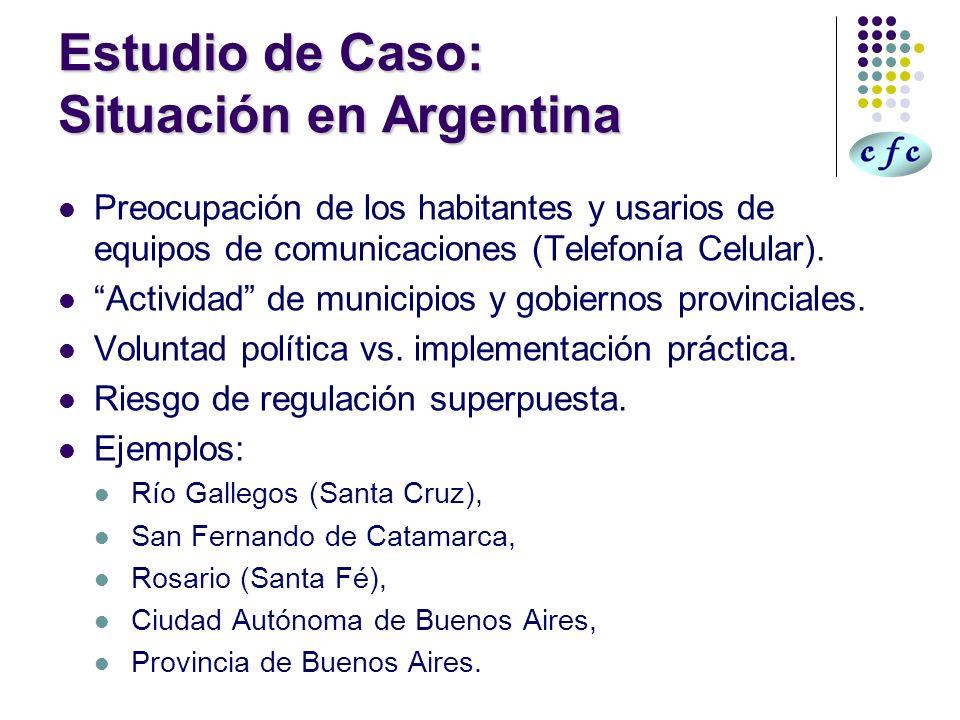 Normativa en Argentina Sigue parámetros internacionales (ICNIRP, OMS, IEEE, FCC).