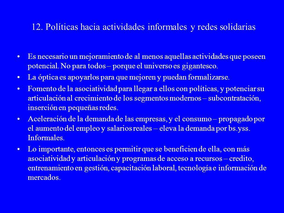 13.Las políticas hacia el ámbito laboral Institucionalidad laboral y productividad Políticas activas de empleo Sistema de formación laboral.