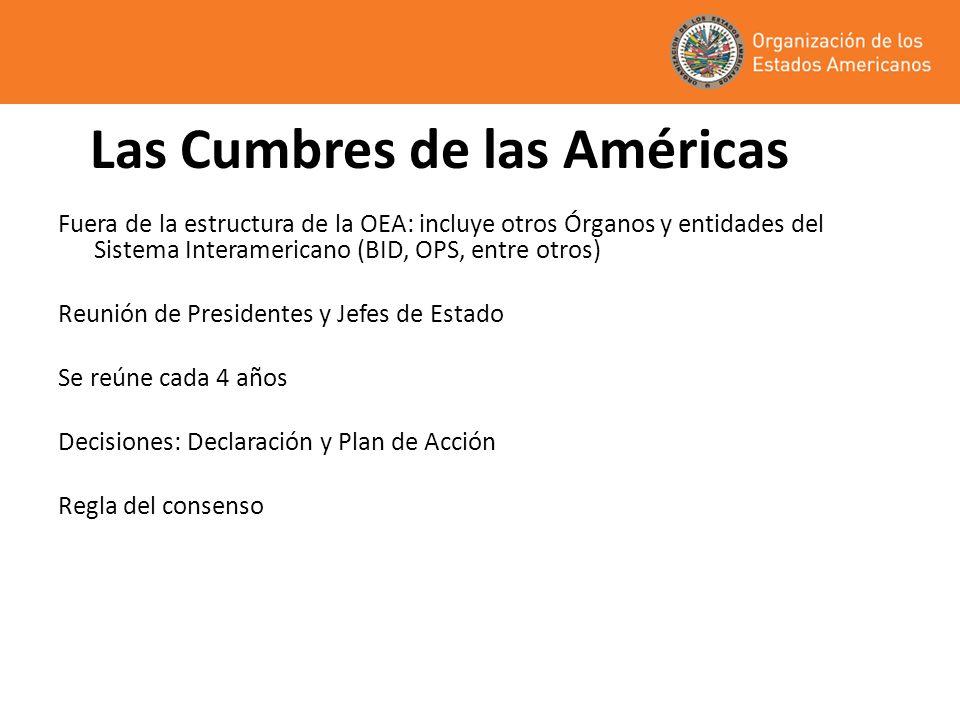 Las Cumbres de las Américas Fuera de la estructura de la OEA: incluye otros Órganos y entidades del Sistema Interamericano (BID, OPS, entre otros) Reu