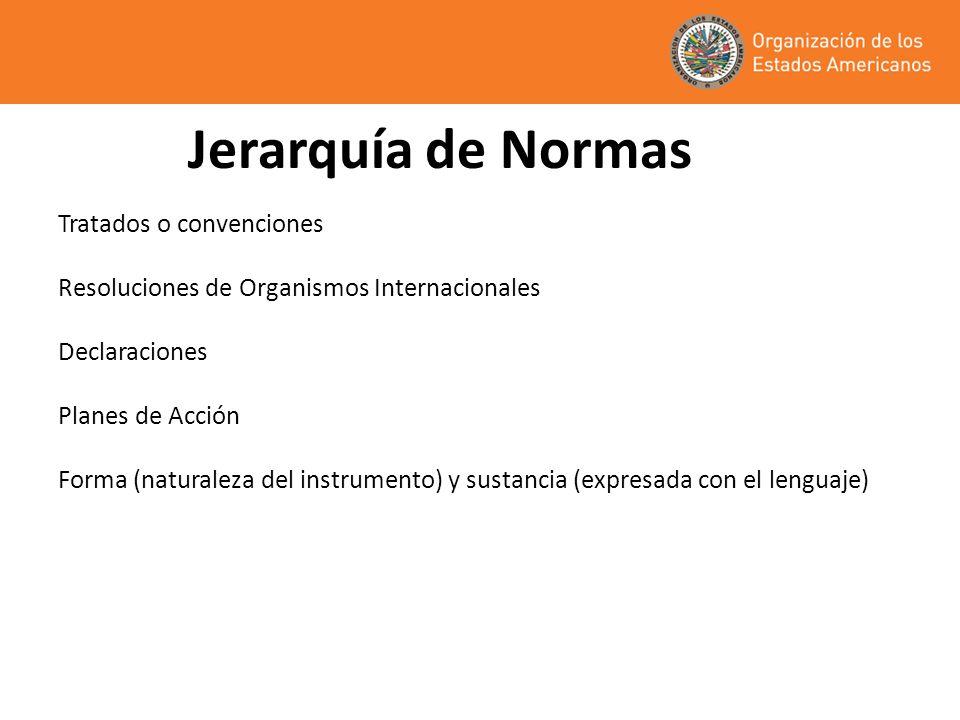 Jerarquía de Normas Tratados o convenciones Resoluciones de Organismos Internacionales Declaraciones Planes de Acción Forma (naturaleza del instrument