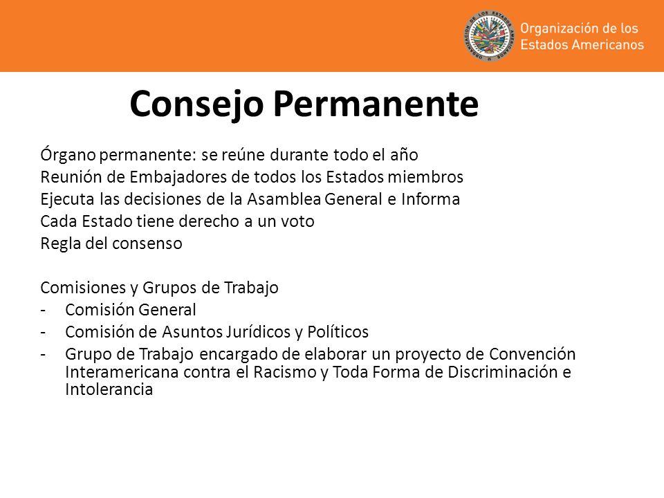 Consejo Permanente Órgano permanente: se reúne durante todo el año Reunión de Embajadores de todos los Estados miembros Ejecuta las decisiones de la A