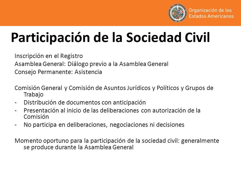 Participación de la Sociedad Civil Inscripción en el Registro Asamblea General: Diálogo previo a la Asamblea General Consejo Permanente: Asistencia Co