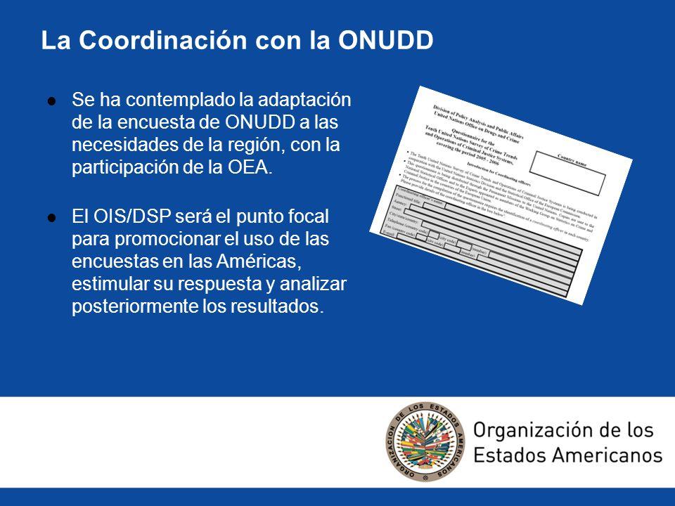 La Coordinación con la ONUDD Se ha contemplado la adaptación de la encuesta de ONUDD a las necesidades de la región, con la participación de la OEA. E