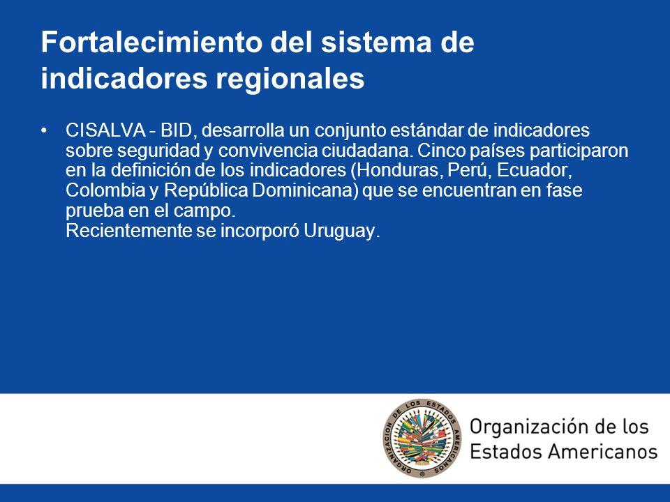 Fortalecimiento del sistema de indicadores regionales CISALVA - BID, desarrolla un conjunto estándar de indicadores sobre seguridad y convivencia ciud