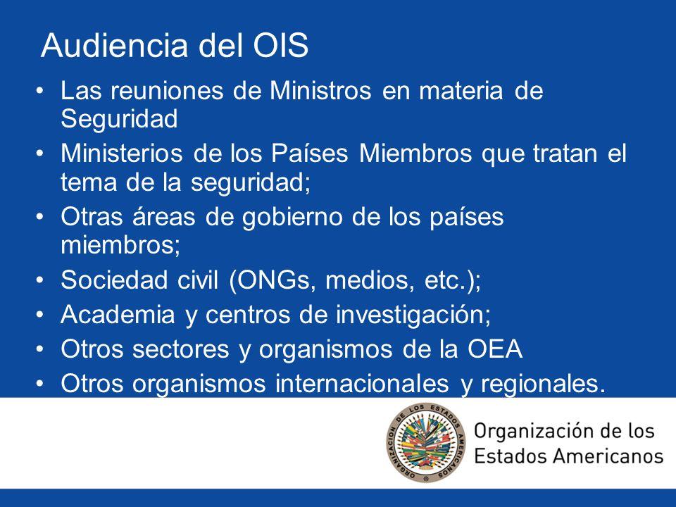 Audiencia del OIS Las reuniones de Ministros en materia de Seguridad Ministerios de los Países Miembros que tratan el tema de la seguridad; Otras área