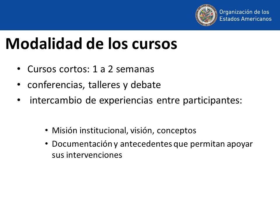 Modalidad de los cursos Cursos cortos: 1 a 2 semanas conferencias, talleres y debate intercambio de experiencias entre participantes: Misión instituci