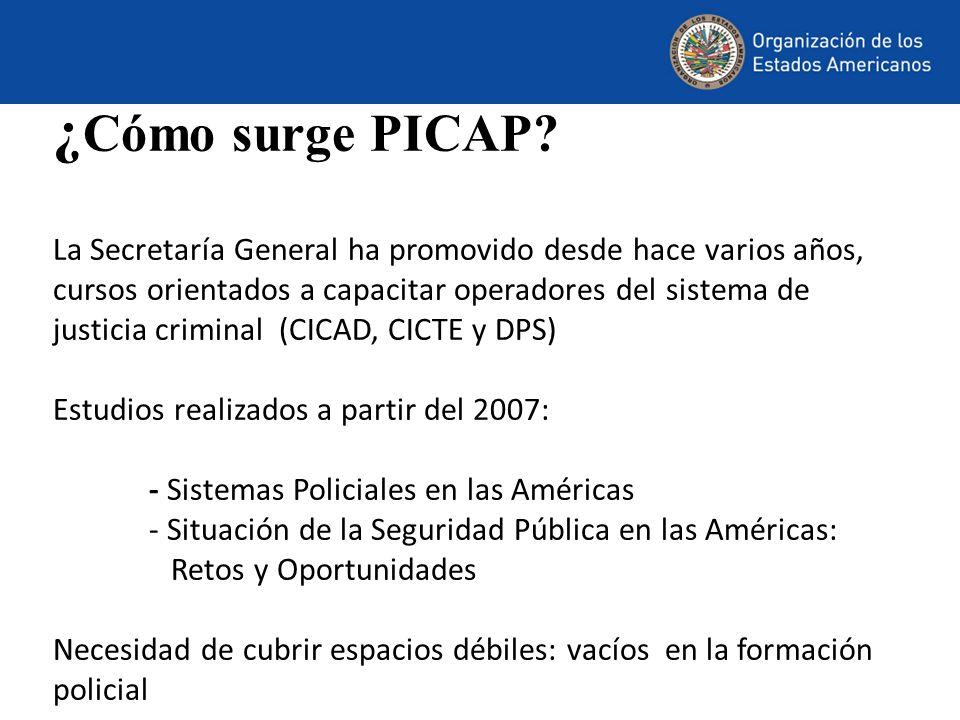 ¿ Cómo surge PICAP? La Secretaría General ha promovido desde hace varios años, cursos orientados a capacitar operadores del sistema de justicia crimin