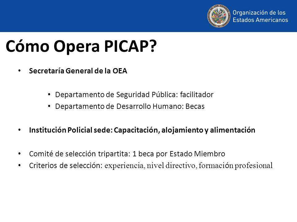 Cómo Opera PICAP? Secretaría General de la OEA Departamento de Seguridad Pública: facilitador Departamento de Desarrollo Humano: Becas Institución Pol