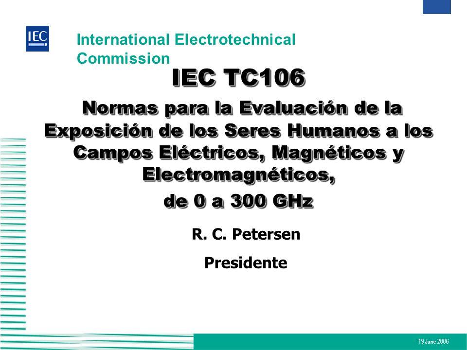 19 June 2006 International Electrotechnical Commission IEC TC106 Normas para la Evaluación de la Exposición de los Seres Humanos a los Campos Eléctric
