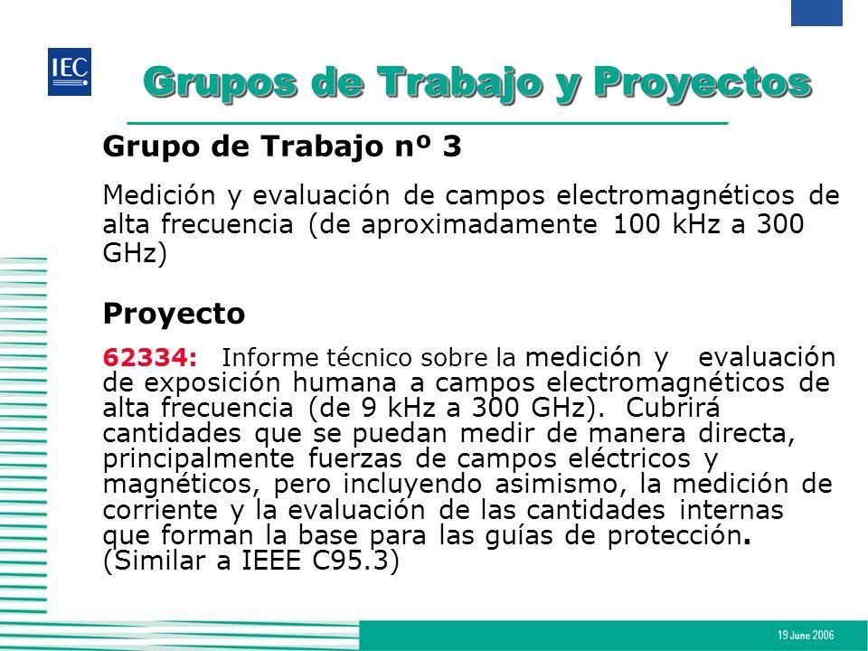 19 June 2006 Grupos de Trabajo y Proyectos Grupo de Trabajo nº 3 Medición y evaluación de campos electromagnéticos de alta frecuencia (de aproximadame